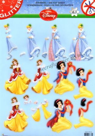 Disney's Snow White, Belle & Cinderella At Christmas Die Cut 3d Decoupage Sheet